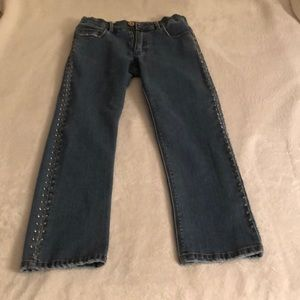 Stylish Dark Denim Jeans with rhinestones/studs
